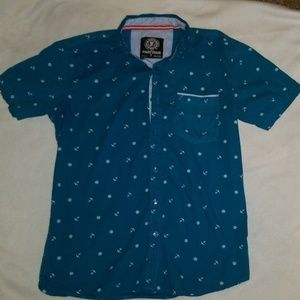EUC men's anchor print button up